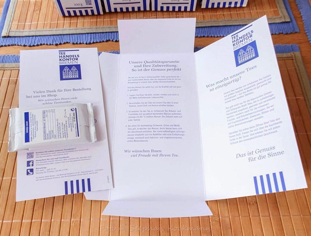 Teeprobe und allgemeine Informationen rund um das Tee-Handels-Kontor Bremen und seine Produkte.