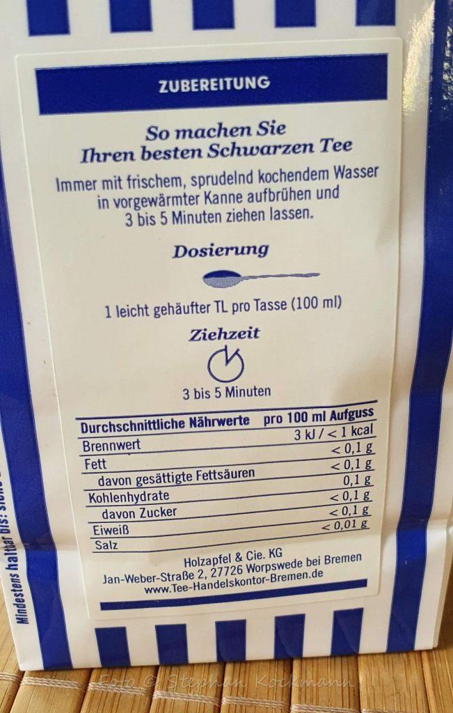 Zubereitungs-Empfehlungen auf der Rückseite der Teeverpackung - hier für Schwarztee.